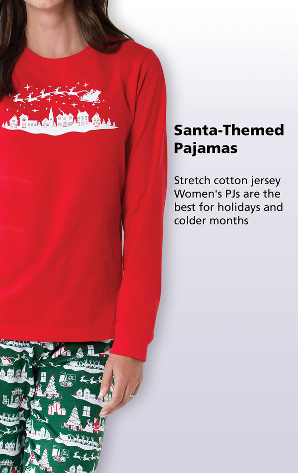 Santa-Themed Pajamas - stretch cotton jersey Women's PJs are the best for holidays and colder months image number 3