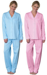 Models wearing Classic Polka-Dot Boyfriend Pajamas - Blue and Classic Polka-Dot Boyfriend Pajamas - Pink. image number 0