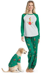 Models wearing Green and Gray Grinch Pajamas for  Pet and Owner image number 0
