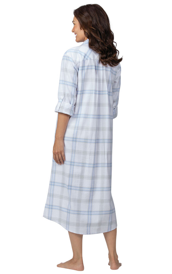 Model wearing Blue Plaid Gown for Women, facing away from the camera image number 1