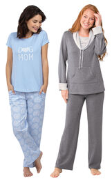 Models wearing Dog Mom Pajamas and World's Softest Pajamas - Charcoal. image number 0