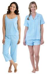 Models wearing Classic Polka-Dot Capri Pajamas - Blue and Classic Polka-Dot Short Set - Blue. image number 0