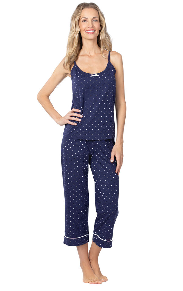 Model wearing Navy and White Polka Dot Cami PJ for Women image number 1