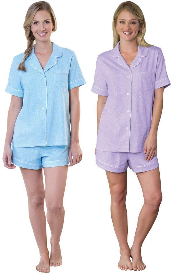 Models wearing Classic Polka-Dot Short Set - Blue and Classic Polka-Dot Short Set - Lavender. image number 0