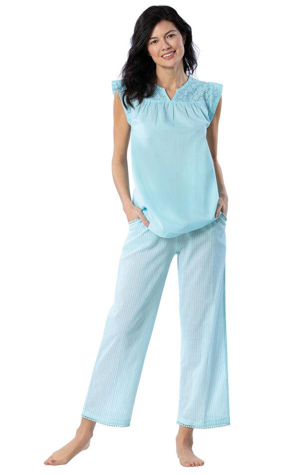 Addison Meadow|PajamaGram Summer Capris in Aqua Stripe image number 0