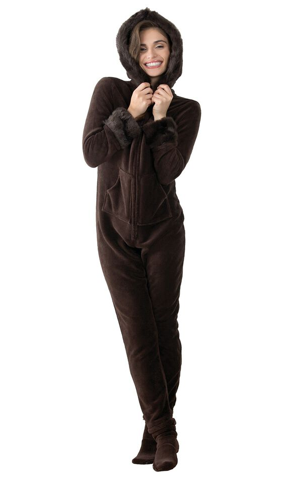 Model wearing Hoodie - Footie - Brown Faux Fur Trim Fleece for Women image number 0