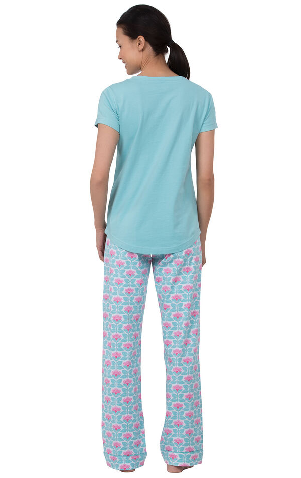 Model facing away from the camera wearing Aqua Floral V-neck Short-Sleeve PJ for Women with Modern Floral Full-length pants image number 1