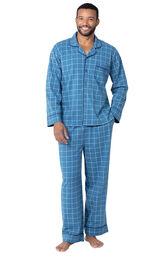 Model wearing Blue Check Button-Front PJ for Men image number 3