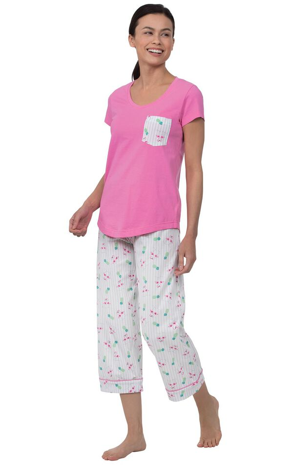 Model wearing Pink and White Flamingo Capri PJ for Women image number 0