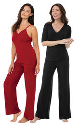 Red Naturally Nude Cami PJs and Black Naturally Nude PJs image number 0