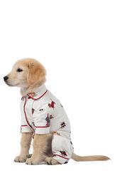 Model wearing Holiday Dog Print PJ - Pet