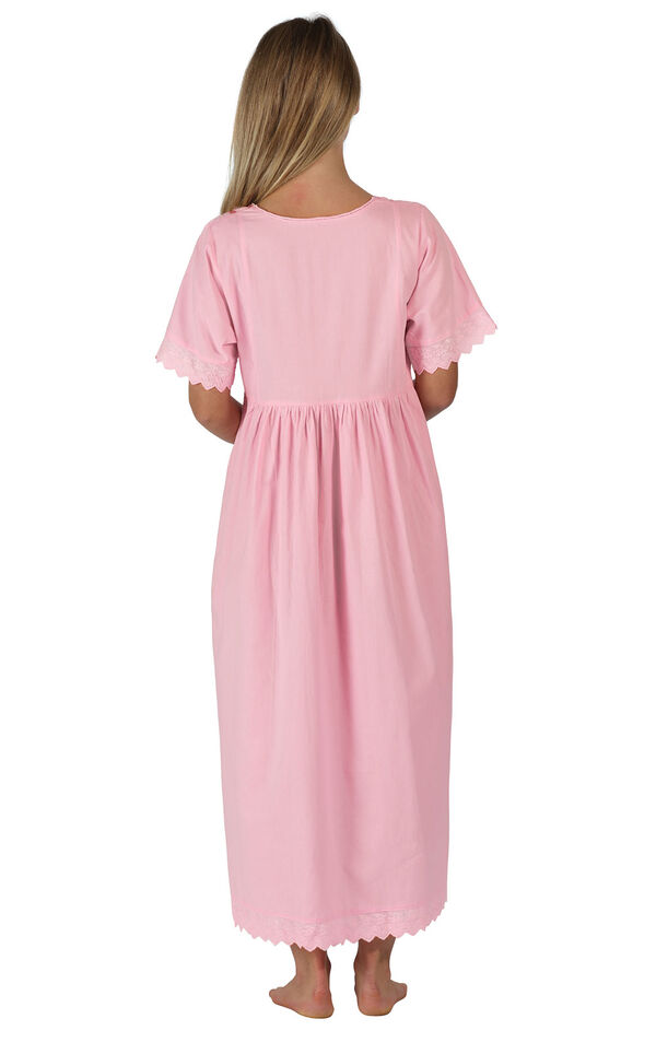 Model wearing Helena Nightgown in Pink for Women, facing away from the camera image number 1