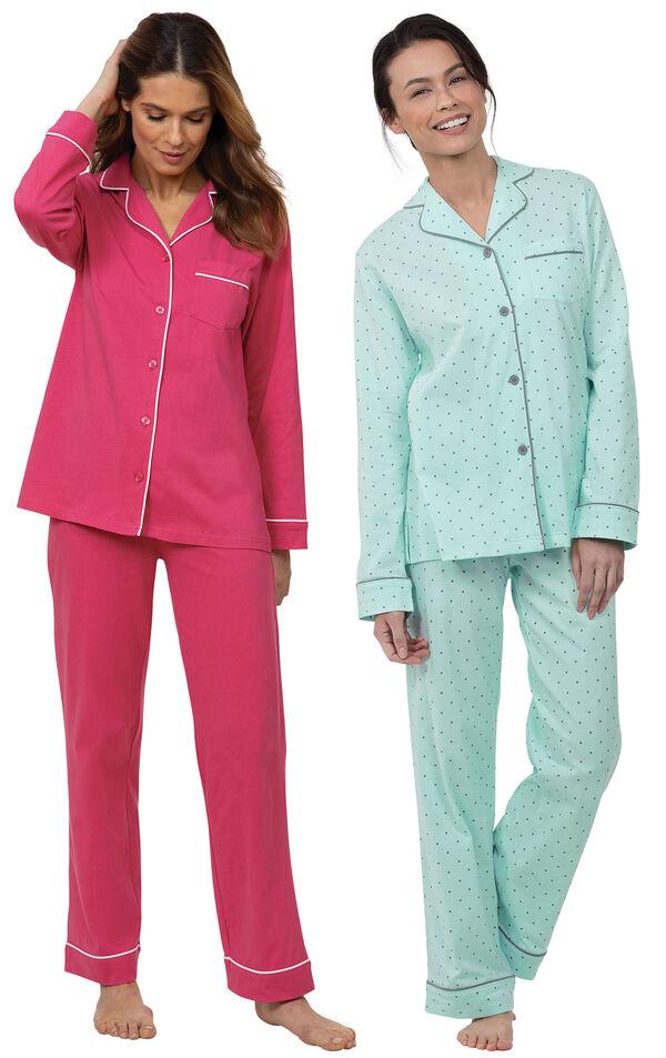 Models wearing Solid Jersey Boyfriend Pajamas - Bold Pink and Classic Polka-Dot Boyfriend Pajamas - Mint image number 0