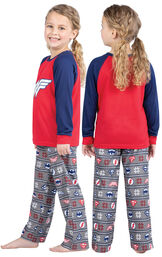 Model wearing Red and Blue Justice League PJ - Kids, facing away from the camera and then to the side image number 1