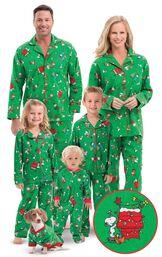 Models wearing Green Charlie Brown Christmas Matching Family Pajamas image number 0