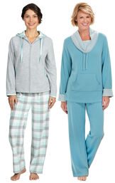 Models wearing Snuggle Fleece Hoodie Pajamas - Aqua and World's Softest Pajamas - Teal. image number 0