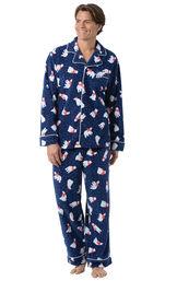 Model wearing Navy Polar Bear Fleece Button-Front PJ for Men