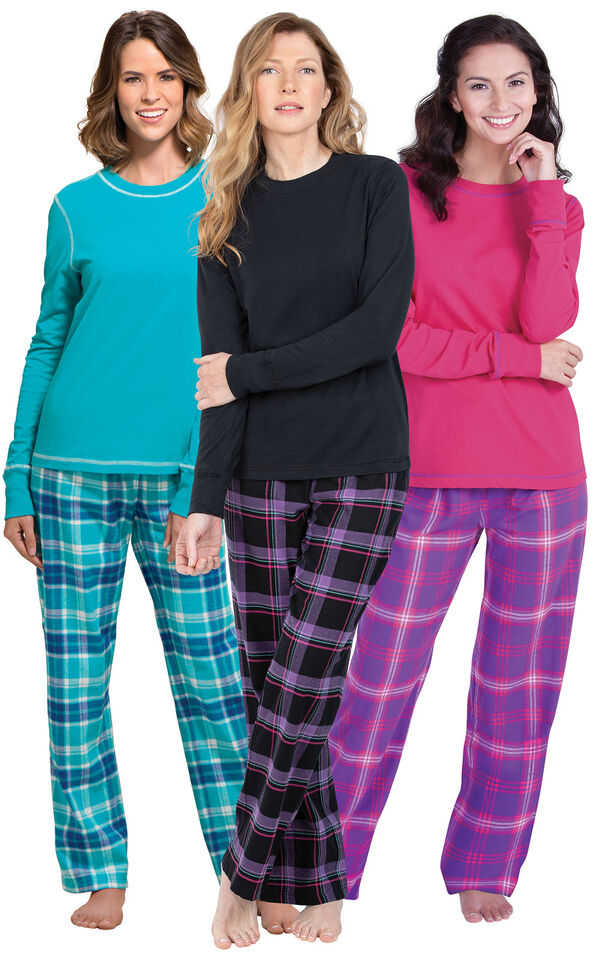 Models wearing Modern Plaid, Raspberry Plaid and Wintergreen Plaid  Jersey-Top Flannel Pajamas. image number 0