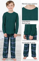 Close-ups of Heritage Plaid Thermal-Top PJ features which include a rib-knit crew neckline, long-sleeve thermal top and full-length PJ pants image number 3