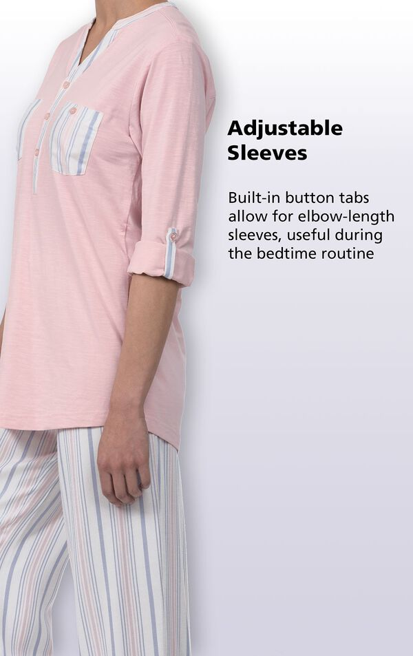 Adjustable sleeves; Built-in button tabs allow for elbow-length sleeves, useful during the bedtime routine image number 4