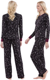 Model wearing Love and Wine Print PJ -Women, facing away from the camera and then to the side image number 1