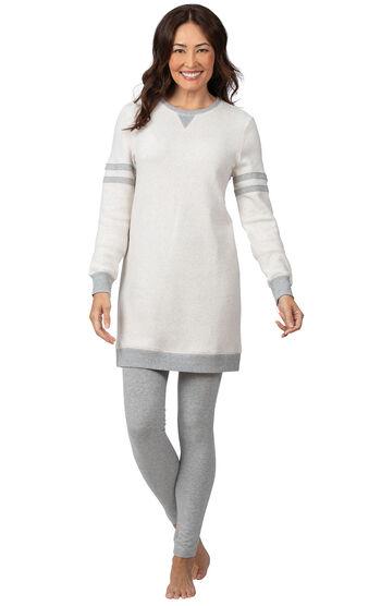 Sporty Sweatshirt & Leggings PJ Set - Ivory/Gray