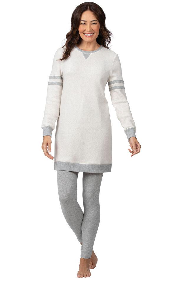 Model wearing Oatmeal Sweatshirt and Leggings Pajama Set for Women image number 0