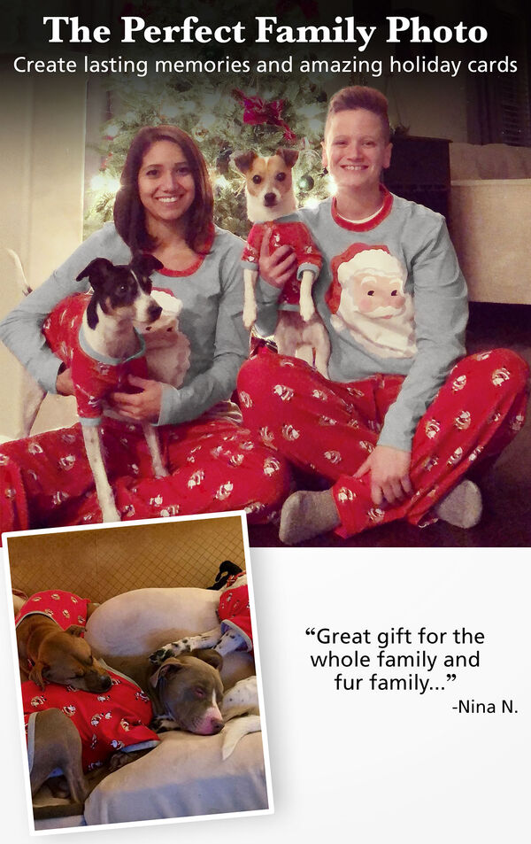 Photos of customers and their pets wearing matching red and gray St. Nick pajamas with the following copy: The Perfect Family Photo - Create lasting memories and amazing holiday cards. image number 1