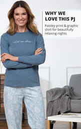 Paisley print and graphic shirt for beautifully relaxing nights image number 2
