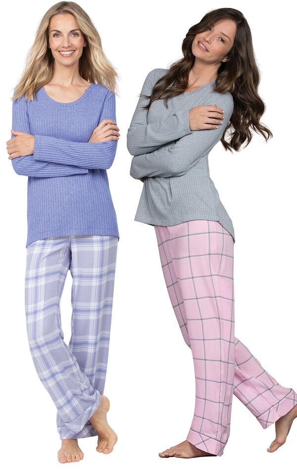 Models wearing World's Softest Flannel Pullover Pajamas - Lavender Plaid and World's Softest Flannel Pajama Set - Pink. image number 0