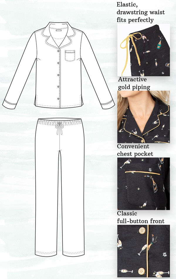 A technical drawing of Black and Gold Champagne Flannel Boyfriend PJs with the following details highlighted: Elastic, drawstring waist, attractive gold piping, convenient chest pocket and classic full button-front image number 2
