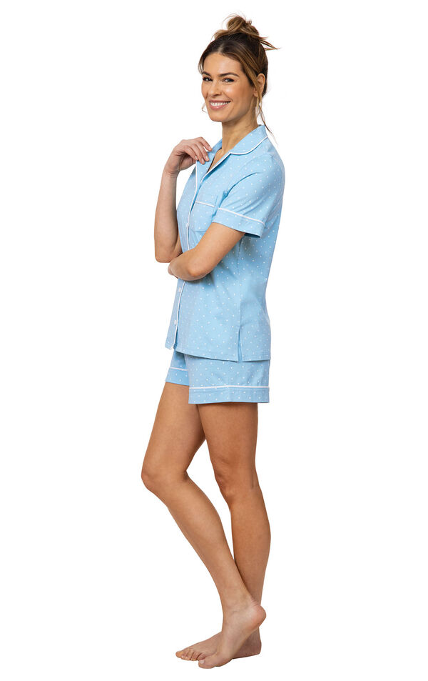 Model wearing  Light Blue and White Polka Dot Oh-So-Soft Pin Dot Short Set, facing to the side image number 2