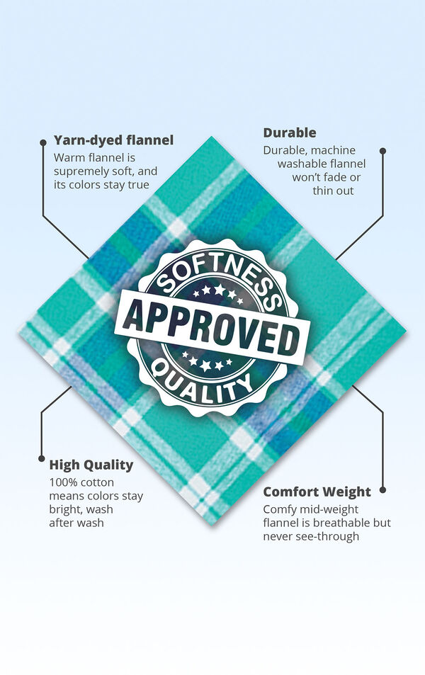 Wintergreen fabric with the following copy: warm flannel is supremely soft. Machine washable flannel won't thin out. 100% cotton means colors stay bright. Comfy mid-weight flannel is breathable. image number 4