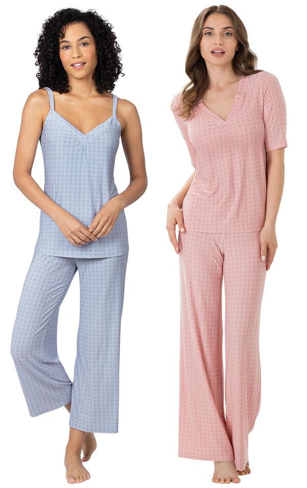 Models wearing Naturally Nude Capri Pajamas - Blue and Naturally Nude Pajamas - Pink. image number 0