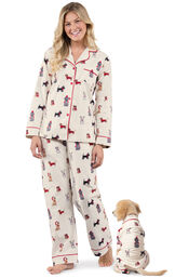 Models wearing Holiday Dog Print PJ for Pet and Owner image number 0