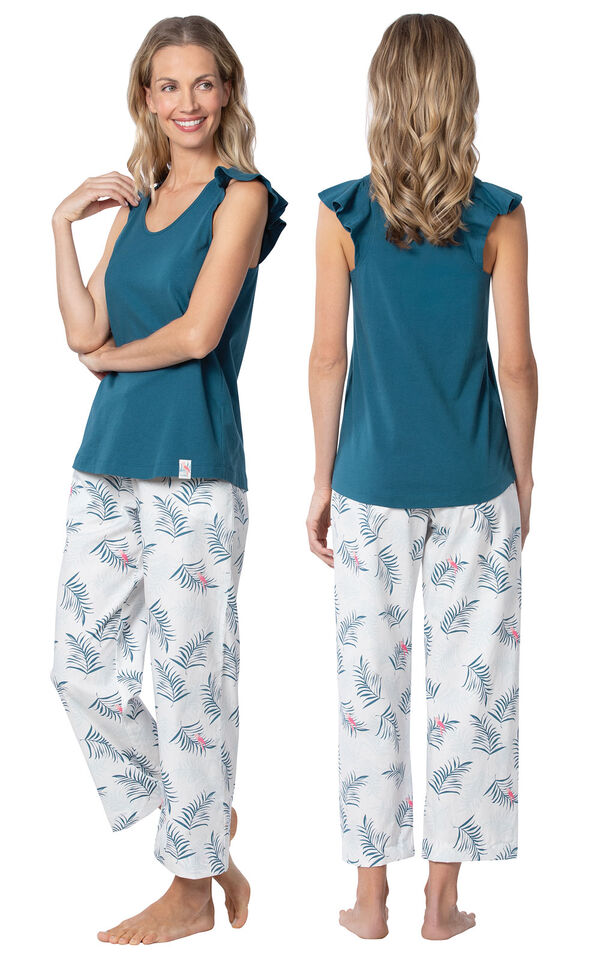Model wearing Blue and White Margaritaville Capri PJ for Women, facing away from the camera and then to the side image number 1