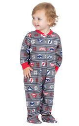Model wearing Red and Blue Justice League Onesie for Infants