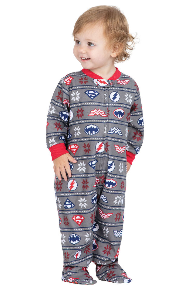 Model wearing Red and Blue Justice League Onesie for Infants image number 0