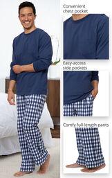 Long Sleeve Jersey Men's Pajamas image number 3