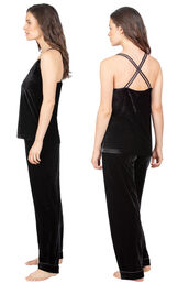 Model wearing Black Velour Cami PJ with Satin Trim for Women, facing away from the camera and then to the side image number 1