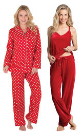 Models wearing Polka-Dot Boyfriend Flannel Pajamas - Red and Velour Cami Pajamas - Ruby. image number 0