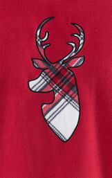 Close-up of Deer Applique on Red Fleece Top image number 5