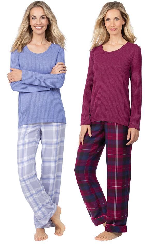 Models wearing World's Softest Flannel Pullover Pajamas - Lavender Plaid and World's Softest Flannel Pullover Pajamas - Black Cherry Plaid. image number 0
