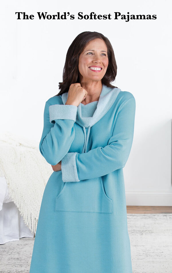Model wearing World's Softest Nighty - Teal by bed with the following copy: The World's Softest Pajamas image number 2