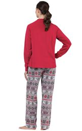 Model wearing Red and Gray Fair Isle PJ for Women, facing away from the camera image number 1
