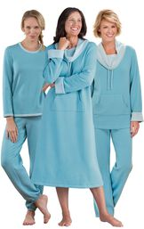 Models wearing World's Softest Nighty -Teal, World's Softest Pajamas - Teal and World's Softest Jogger Pajamas - Teal. image number 0