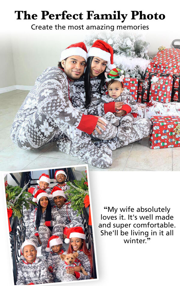 "Customer photos of Nordic Fleece Hoodie-Footie Matching Family Pajamas. Headline: The Perfect Family Photo; Create the most amazing memories. Customer Quote: ""My wife absolutely loves it. It's well made and super comfortable."" image number 3"