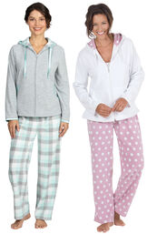 Models wearing Snuggle Fleece Hoodie Pajamas - Aqua and Snuggle Fleece Hoodie Pajamas - Polka Dots.