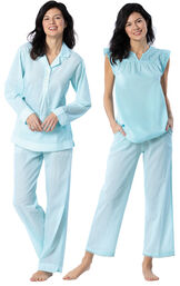 Models wearing Addison Meadow Summer Pullover PJs - Aqua Stripe and Addison Meadow Summer Capris - Aqua Stripe image number 0