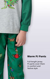 Close-up of Dr. Seuss' The Grinch PJ Warm PJ Pants with the following copy: Full-length jersey PJ pants cover them in comfort and festive style image number 4